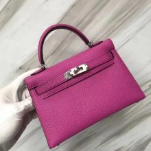 Noble Hermes I9 Rose Magnolia Epsom Calf Minikelly19CM Evening Clutch Bag Silver Hardware