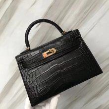 Discount Hermes CK89 Noir Alligator Matt Crocodile Minikelly19CM Clutch Bag Summer Small Bag