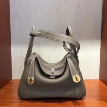 Elegant Hermes Lindy Bag26CM in CK18 Etoupe Grey Clemence Calf Leather Gold Hardware