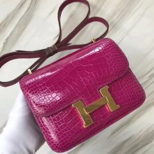 Luxury Hermes Constance Shoulder Bag18CM J5 Rose Scheherazade Shiny Crocodile Gold Hardware