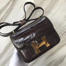 Elegant Hermes CK88 Graphite Grey Shiny Crocodile Constance Bag18CM Gold Hardware