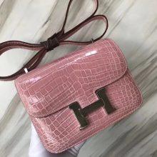 Discount Hermes Shiny Crocodile Constance18CM Shoulder Bag in 5Z Rose Indienne Silver Hardware