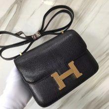 Elegant Hermes CK89 Noir Shiny Lizard Constance Bag18CM Shoulder Bag Gold Hardware