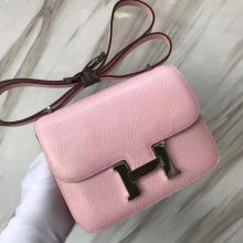 Pretty Hermes Constance Bag18CM in Rose Barbie Lizard Leather Silver Hardware