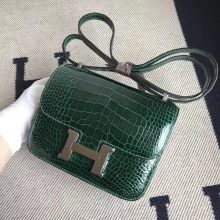 Fashion Hermes CK67 Vert Fonce Shiny Crocodile Constance Bag18CM Silver Hardware