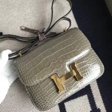 Sale Hermes Shiny Crocodile Constance18CM Shoulder Bag in CK81 Gris Tourterelle Gold Hardware