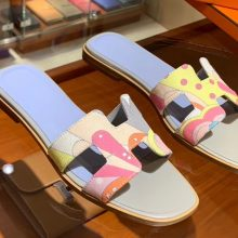 Fashion Hermes H Canvas Upper Gris Tourterelle & Light Blue Insole Sandals Slippers Size35-41