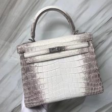 Stock Noble Hermes Himalaya Crocodile Kelly Bag25CM Women's Bag Silver Hardware