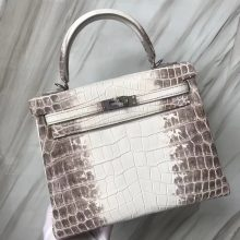 Stock Fashion Hermes Kelly25CM Tote Bag in Himalaya Crocodile Leather Silver Hardware