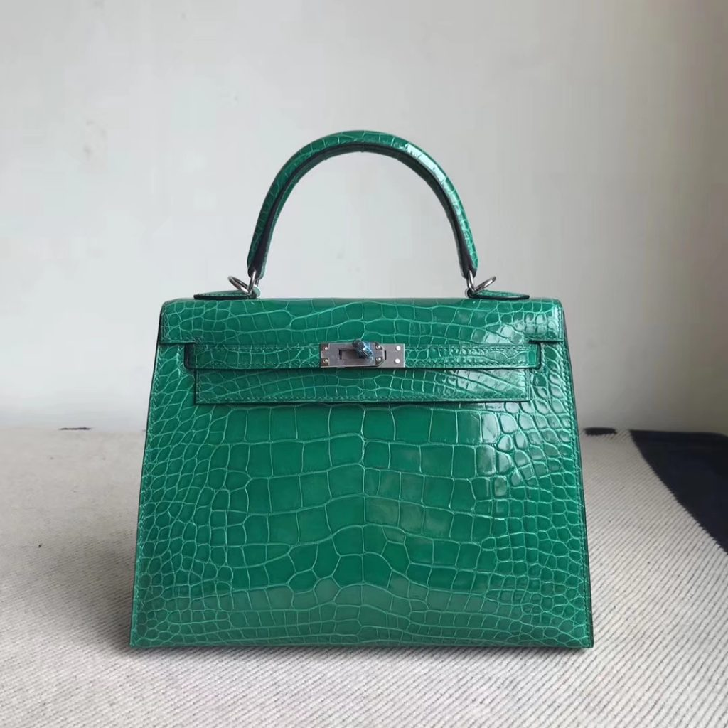 Stock Luxury Hermes Alligator Shiny Crocodile Kelly Bag25CM in 6Q Vert Emeraude Silver Hardware