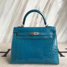 Stock Fashion Hermes 7W Blue Izmir Shiny Crocodile Kelly25CM Women's Bag Silver Hardware