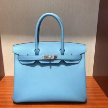 Stock Hermes Epsom Calf Birkin30CM in 2019 New Color-P3 Blue de Nord Silver Hardware