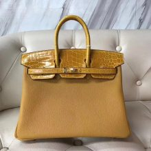Stock Luxury Hermes 9D Ambre Yellow Togo Calf & Shiny Crocodile Leather Birkin Bag25CM Gold Hardware