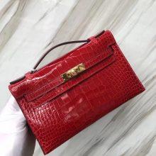 Stock Hermes CK95 Braise Alligator Shiny Crocodile Minikelly22CM Women's Clutch Bag Gold Hardware