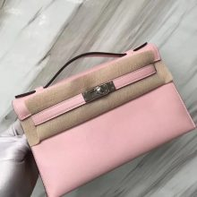 Stock Hermes 3Q Rose Confetti Swift Calf Minikelly Clutch Bag Silver Hardware