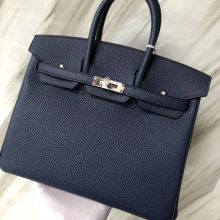 Stock Hermes Classic Bag Blue Saphir Togo Calf Birkin Bag25CM Silver Hardware