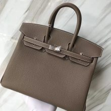 Stock Discount Hermes Togo Calf Leather Birkin25CM Women's Bag in CK18 Etoupe Grey Silver Hardware