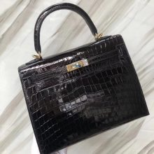 Stock Hermes CK89 Noir Crocodile Shiny Leather Classic Kelly Bag25CM Gold Hardware