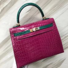 Fashion Hermes 6Q Vert Emeraude/ J5 Rose Scheherazade Shiny Crocodile Kelly25CM Gold Hardware