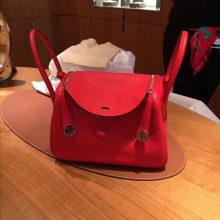 Pretty Hermes S5 Rouge Tomate Togo Calf Lindy26CM Bag Silver Hardware