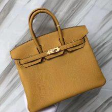 Stock New Hermes Togo Calf Birkin25CM Tote Bag in 9D Ambre Yellow Gold Hardware