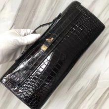 Stock Hermes CK89 Noir Porosus Shiny Crocodile Kelly Cut Clutch Bag31CM Gold Hardware