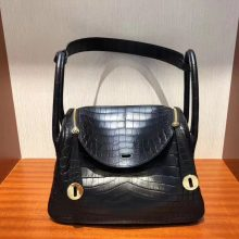 Stock Fashion Hermes CK89 Noir Crocodile Matt Lindy26CM Bag Gold Hardware