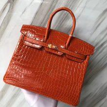Stock Hermes Orange Crocodile ShinyLeather Birkin Bag25CM Gold Hardware