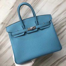 Stock New Hermes Togo CalfBirkin25CM Bag in P3 Blue de Nord Silver Hardware