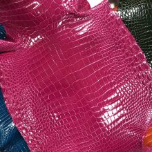 Hermes Bags Customization J5 Rose Scheherazade Porosus Shiny Crocodile Leather