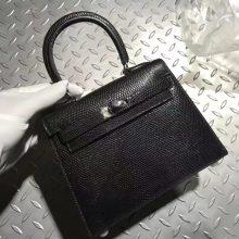 Stock Hermes Kelly20CM Tote Bag in CK89 Noir Lizard Leather Silver Hardware