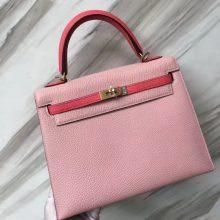Stock Hermes 1Q Rose Confetti/8W Rose Azalee Chevre Leather Kelly25CM Bag