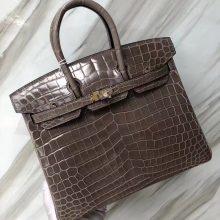 Stock Luxury Hermes CK81 Gris Tourterelle Shiny NiloCrocodile Birkin25CM Bag Gold Hardware