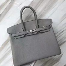 Stock Fashion Hermes Togo Calf Birkin Bag25CM in 4z Gris M Gold/Silver Hardware