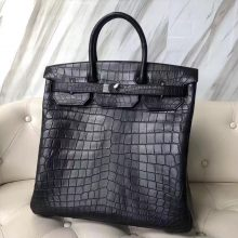 Customization Hermes CK89 Noir Matt Crocodile HAC Birkin40CM Tote Bag