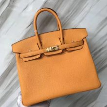 Stock Hermes I9 Apricot Togo Calf Birkin25CM Tote Bag Gold Hardware