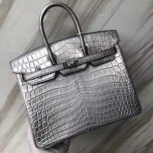 Customization Luxury Hermes Silver Matt Crocodile Birkin25cm Bag Silver Hardware