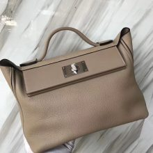 Stock Hermes S2 Gris Trench Togo Calf New 24/24Kelly Bag29CM Silver Hardware