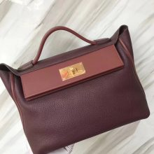 Stock Hermes Bordeaux/Rouge Grenade Togo Calf 24/24 Kelly Bag29CM Gold Hardware