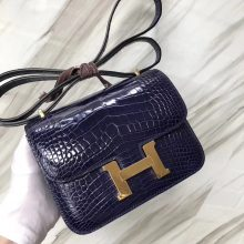 Stock Hermes Shiny Crocodile Constance18CM Shoulder Bag M3 Blue Encre Gold Hardware