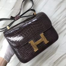 Stock Hermes CK88 Gris Graphite Shiny Crocodile Constance Bag24CM Gold Hardware