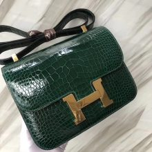 Stock Hermes CK67 Vert Fonce Shiny Crocodile Constance Bag24CM Gold Hardware