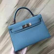Stock Wholesale Hermes Chevre Leather Minikelly-2 Handbag in 7N Blue Candy Silver Hardware