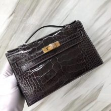 Stock Sale Hermes CK88 Gris Graphite Shiny Crocodile Minikelly22CM Gold Hardware