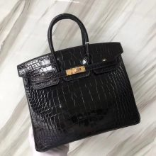 Stock Hermes CK89 Noir Alligator Shiny Crocodile Birkin25CM Bag Gold Hardware