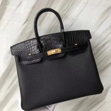 Stock Hermes CK89 Noir Crocodile/Togo Leather Birkin Bag25CM Rose Gold Hardware