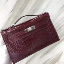 Stock Hermes Shiny Crocodile Minikelly Pochette22CM F5 Rouge Bourgogne Silver Hardware