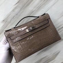 Stock Hermes CK81 Gris Tourterelle Shiny Crocodile Minikelly Clutch Bag Silver Hardware