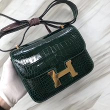 Stock Hermes Alligator Shiny Crocodile Constance Bag18CM in CK67 Vert Fonce Gold Hardware