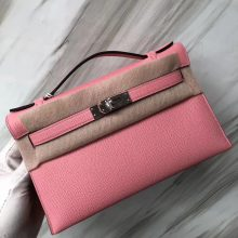 Stock Hermes Epsom Minikelly22CM Evening Bag in 1Q Rose Confetti Silver Hardware